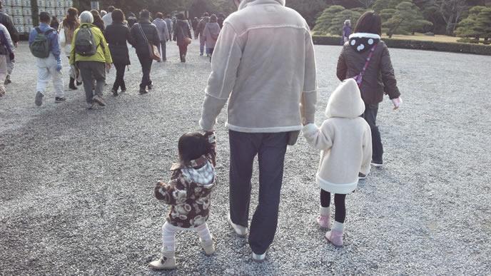 家族で初詣に出かけるパパ