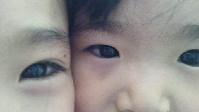 ママが大好きでピッタリくっついて写真を撮る男の子
