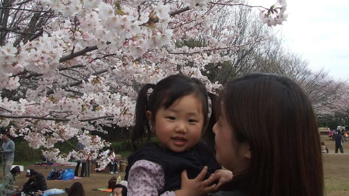 ママと一緒にお花見に出かけている女の子