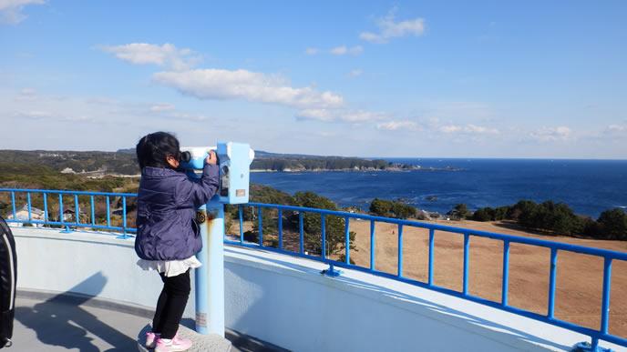 望遠鏡で遠くを見る小学生
