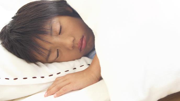 勉強の疲れて熟睡する男の子
