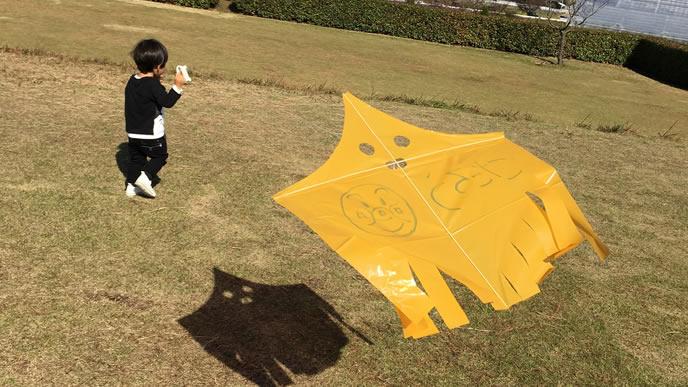 自分で作った凧をあげる男の子
