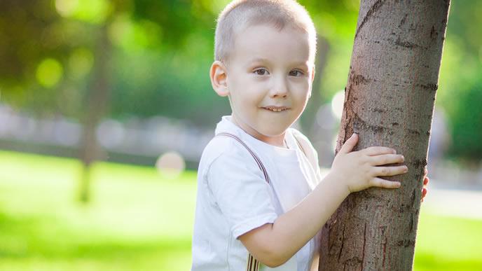 木陰に隠れる人見知りの男の子