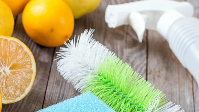 重曹掃除に使うスプレーとブラシ