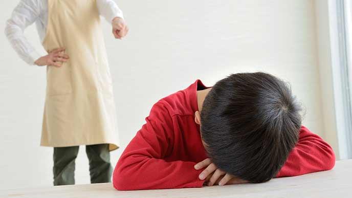 泣く子供と叱る親