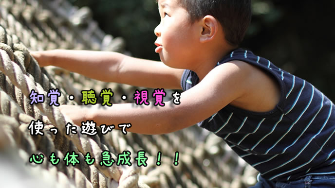 アスレチックで遊ぶ3歳児の男の子