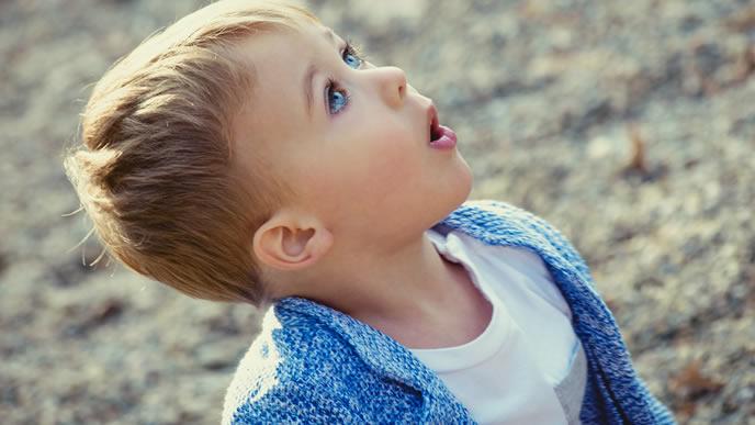 空を見上げて感性を磨く男の子
