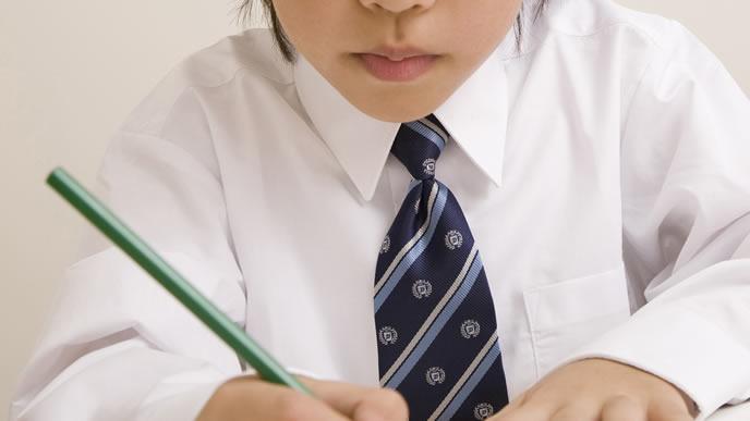 正しく鉛筆を持って宿題をする小学生