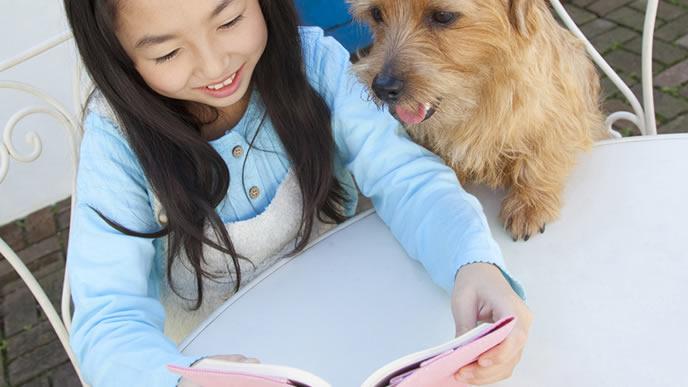 わんちゃんと一緒に絵本を読む女の子
