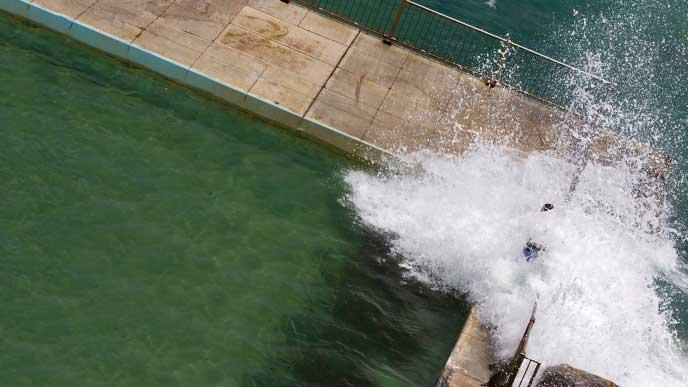 岸壁に打ち付けられた波