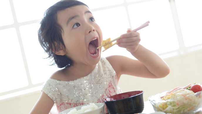 ご飯を食べてる女の子
