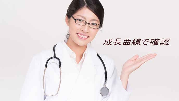 女医が成長曲線に注意喚起する