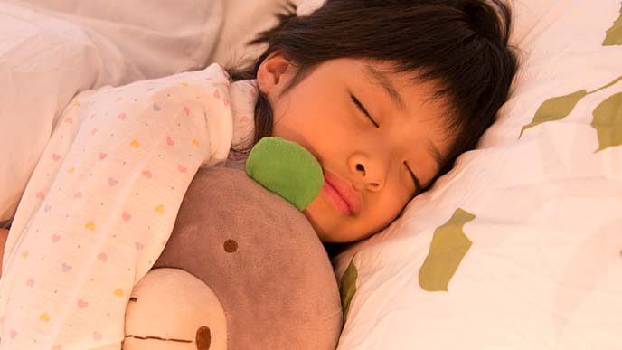 ぬいぐるみと一緒に眠る小学生