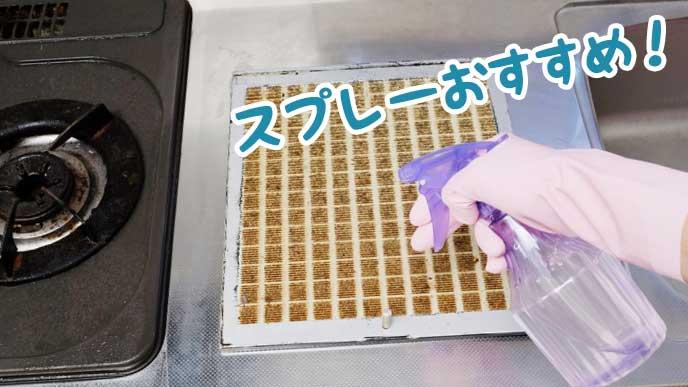 スプレータイプの洗剤を吹きかけて換気扇のフィルターを掃除する