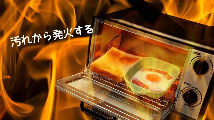 炎に包まれるオーブントースター