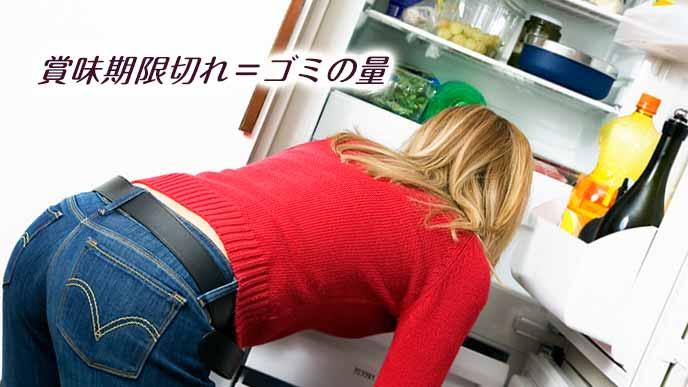 冷蔵庫の中を調べる女性