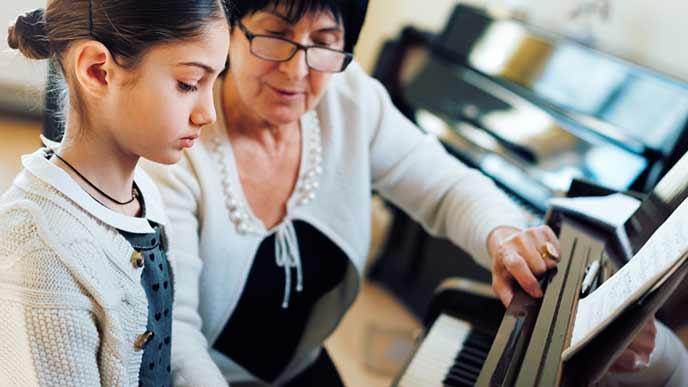 ピアノのレッスンをする少女