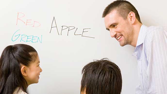 英会話を習う小学生達