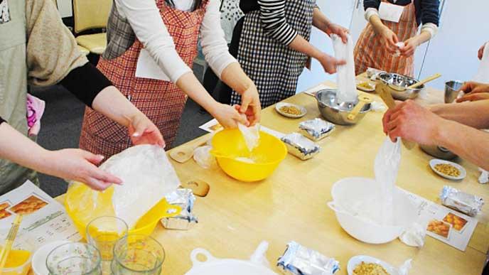 パン教室でパンを作る