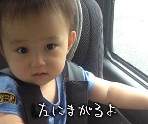 車の中で進行方向を見る幼児