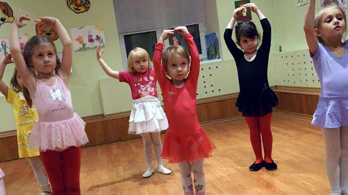 教室でダンスをする子供達