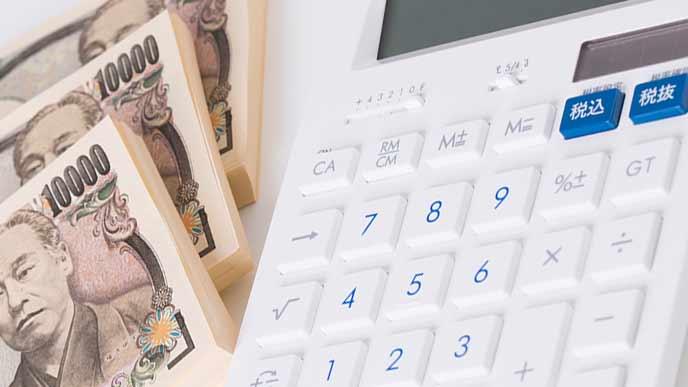 紙幣の束と電卓