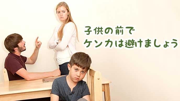 お父さんとお母さんの喧嘩に憂鬱な表情をする子供