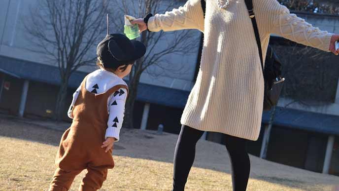 公園で遊ぶ母子