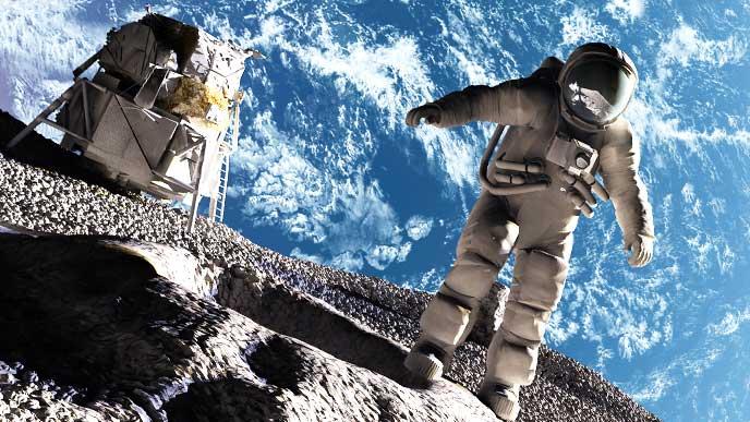 月面に立つ宇宙飛行士