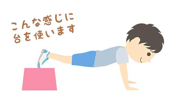 腕立ての姿勢で足を台に乗せる男の子のイラスト
