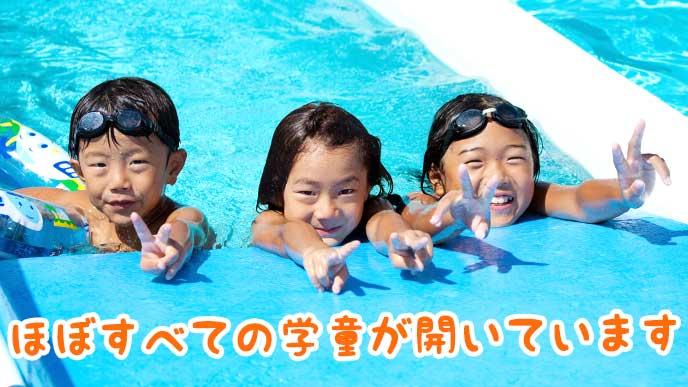 プールで遊んでいる子供達