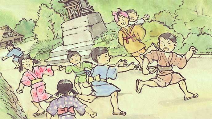 鬼ごっこで遊んでる昔の子供の絵
