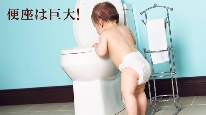 幼児にとって便座は巨大