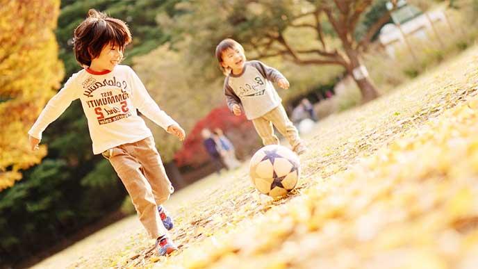 公園でサッカーをして遊んでる兄弟