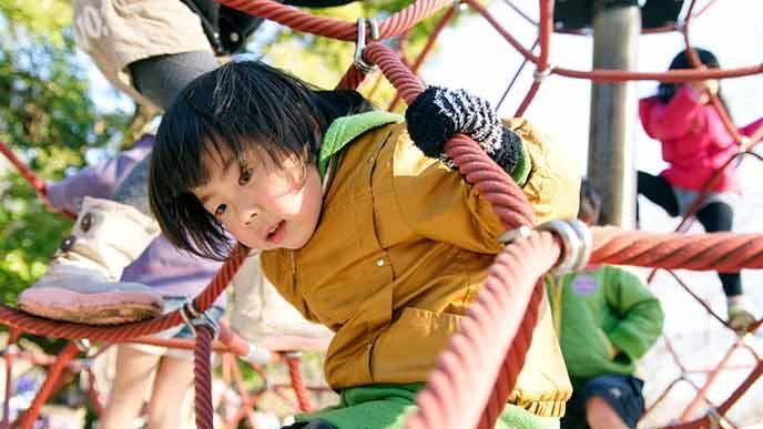 4歳前後の児童がジャングルジムで遊ぶ