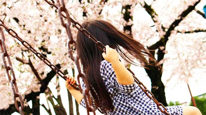 ブランコに乗りながら桜を見てる女の子