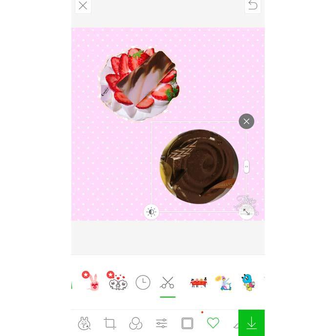 アプリでオリジナルスタンプをつくっているスクリーンショット写真