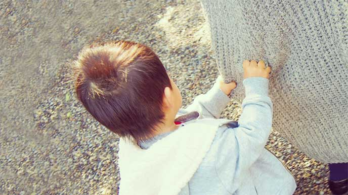 母親のカーディガンの裾を握って歩く男の子