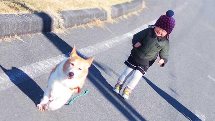 犬を追いかけて走ってる女の子