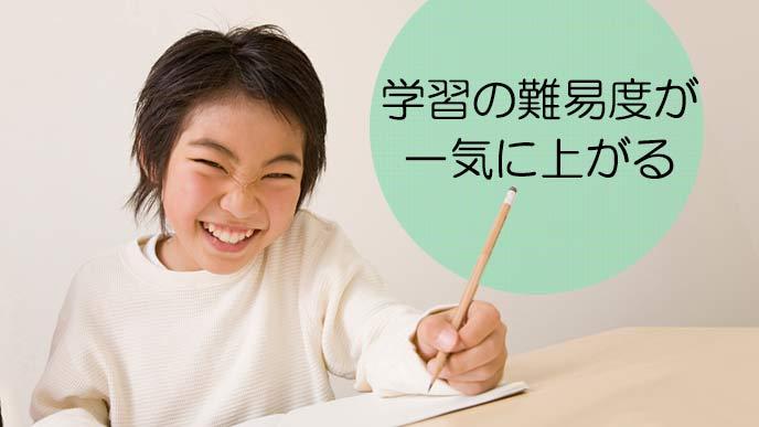 困惑した笑顔の小学生