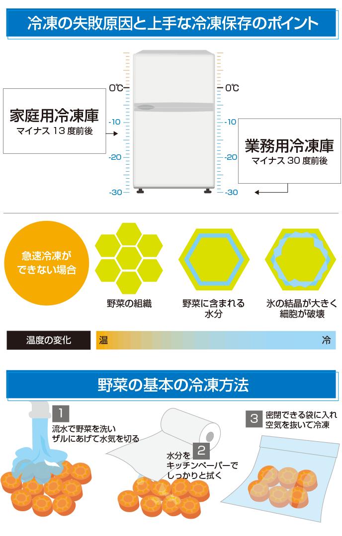 図解:野菜の冷凍保存のポイントと野菜の冷凍方法