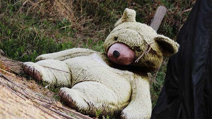 森に捨てられたクマのぬいぐるみ