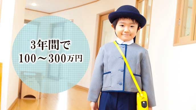 制服を着て立つ園児