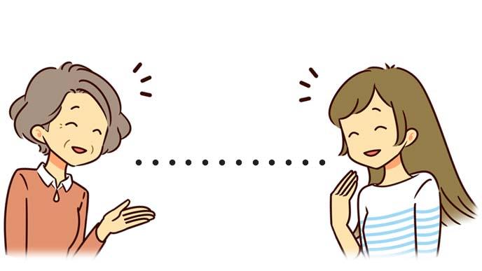 距離感を保って会話する義理の母と娘のイラスト
