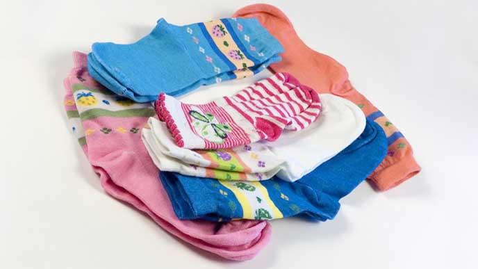 洗濯で綺麗になった子供用の靴下