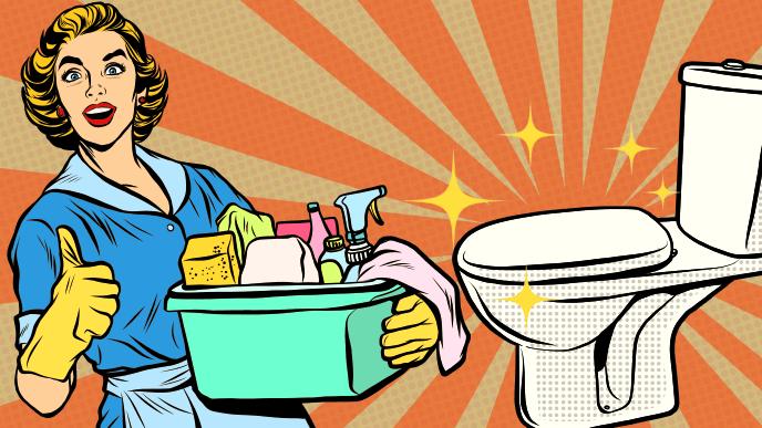 トイレ掃除の準備万端な女性