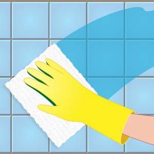 壁面の水分を拭きとっているイラスト