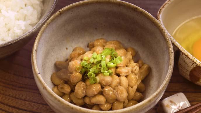小鉢に入った納豆、刻み葱のせ