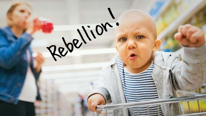 スーパーマーケットのカートの上で怒りの拳をあげる幼児