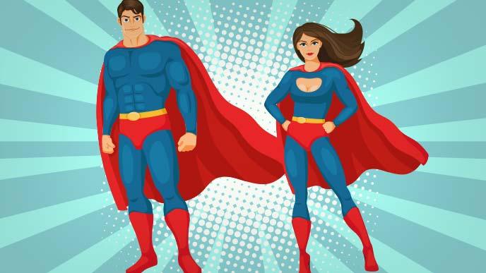 人のために仕事をするスーパーマンとスーパーウーマン